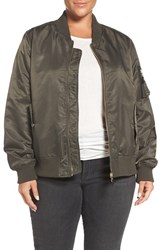 Steve Madden Plus Size Women's Flight Side Zip Bomber Jacket Olive