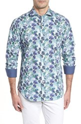 Bugatchi Shaped Fit Blue Leaves Sport Shirt Amethyst
