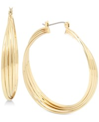Kenneth Cole New York Silver Tone Large Multi Row Twisted Hoop Earrings Shiny Gold