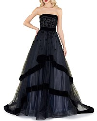 Mac Duggal Strapless Tiered Gown With Velvet Trim And Floral Appliques Black