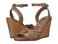 Frye Patricia Concho Wedge Grey Smooth Vintage Leather Women's Wedge Shoes Beige