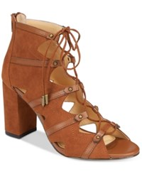 Daya By Zendaya Alfie Block Heel Lace Up Sandals Women's Shoes Ginger
