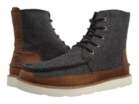 Toms Searcher Boot Grey Herringbone Brown Leather Men's Lace Up Boots Gray