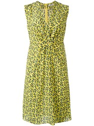 Cacharel Printed V Neck Dress Women Silk 38 Yellow Orange