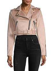Saks Fifth Avenue Red Crop Belted Asymmetric Moto Jacket Pink Champagne