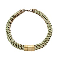 Mamazoo Chain Suede Weave Necklace Green