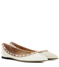 Valentino Rockstud Patent Leather Ballerinas White