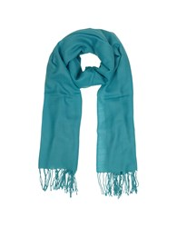Mila Schon Long Scarves Turquoise Wool And Cashmere Fringed Stole