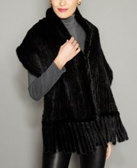 The Fur Vault Knitted Mink Stole Black