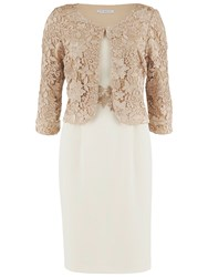 Gina Bacconi Moss Crepe Dress With Guipure Lace Jacket Almond
