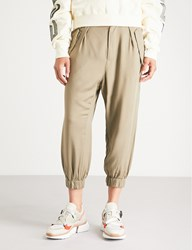 Izzue High Rise Woven Trousers Khaki