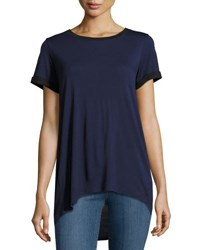 Vince Rolled Sleeve High Low Tee Blue