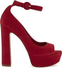 Aldo Rocha Suede Heeled Sandals Red Nabuck