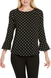 Foxcroft Korin Dot Plisse Top Black