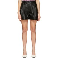 Aeron Ssense Exclusive Black Faux Leather Isabelle Pleated Shorts