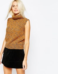 Monki Sleeveless Knitted Roll Neck Top Brown