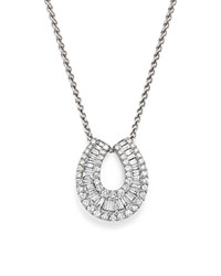 Bloomingdale's Diamond Round And Baguette Horseshoe Pendant Necklace In 14K White Gold 2.0 Ct. T.W.