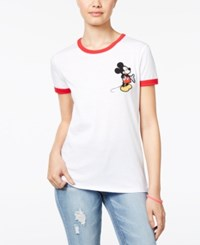 Disney Juniors' Mickey Mouse Patch Ringer T Shirt White Red