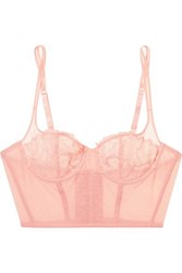 Yasmine Eslami Morgane Stretch Point D'esprit Tulle And Lace Underwired Balconette Bra Antique Rose