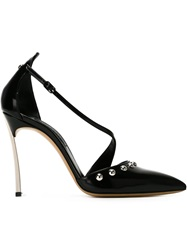 Casadei Studded Pointed Toe Pumps Black