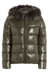 Duvetica Quilted Down Jacket With Fur Trimmed Hood Green