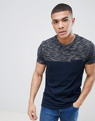 Asos Design T Shirt With Textured Yoke And Contrast Pocket In Navy
