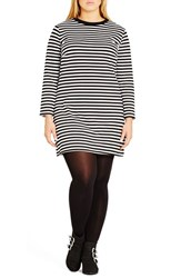 City Chic Plus Size Women's 'Mono Magic' Stripe Stretch Cotton Tunic