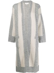 The Great Great. Striped Cardigan Coat Grey