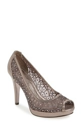 Adrianna Papell Women's 'Foxy' Crystal Embellished Peeptoe Pump Gunmetal Fabric