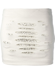 Jay Ahr Crystal Embellished Mini Skirt Nude And Neutrals