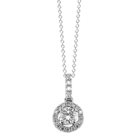 Ewa 18Ct White Gold Diamond Claw Set Cluster Pendant With Diamond Loop White
