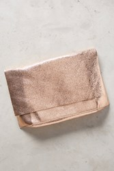 Anthropologie Lustered Foldover Clutch Rose