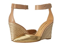 Enzo Angiolini Cozetta Gold Natural Leather Women's Wedge Shoes Brown