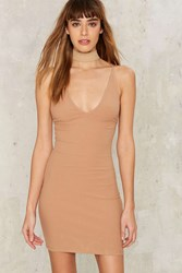 First Things First Ribbed Mini Dress Tan Beige