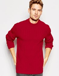 Asos Cable Knit Jumper With Chunky Neck Red