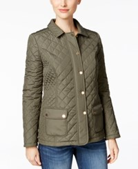 Charter Club Petite Quilted Water Resistant Coat Only At Macy's Green Tea