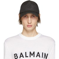 Balmain Black Denim Logo Cap