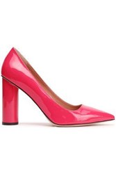 Red V Patent Leather Pumps Fuchsia