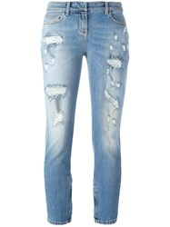 Faith Connexion Distressed Cropped Jeans Blue