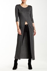 Blvd Split Front Elbow Sleeve Maxi Tee Gray