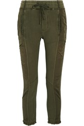 Haider Ackermann Paneled Cotton Jersey And Faille Pants Army Green