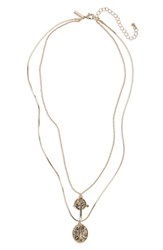 Topshop Coin Cross Layer Necklace Gold