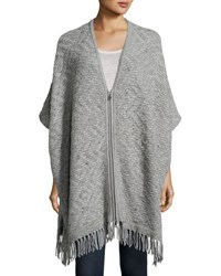 Joie Purnima Zip Front Fringe Hem Poncho Dark Heather Grey