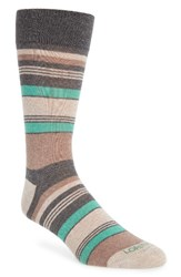 Lorenzo Uomo Men's Stripe Socks Charcoal