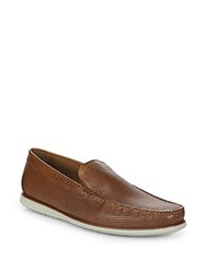 Kenneth Cole Textured Leather Moccasins Cognac