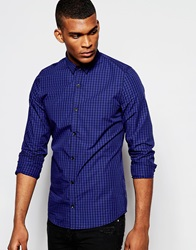 Vito Check Shirt With Micro Collar In Slim Fit Blue