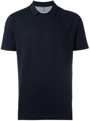Brunello Cucinelli Spread Collar T Shirt Blue