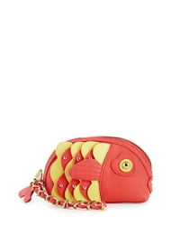 Betsey Johnson Fish Faux Leather Wristlet Bag Guava
