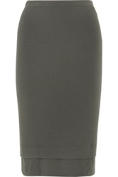 Donna Karan Layered Stretch Jersey Skirt Gray