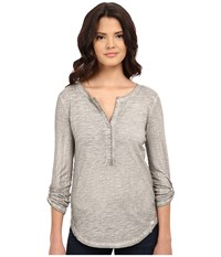 Ariat Caitlin Henley Silver Lining Women's Long Sleeve Button Up Gray